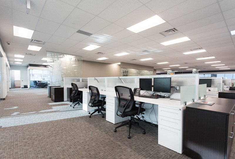 Connected workstations in an office area